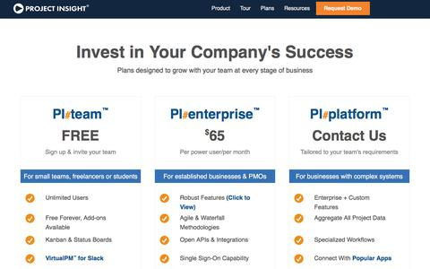 Screenshot of Pricing Page projectinsight.net - Work Management Software Pricing   Project Insight - captured July 25, 2019