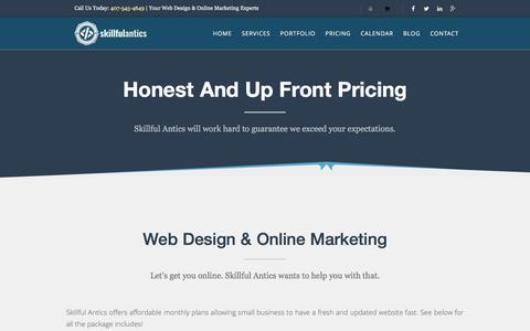 Screenshot of Pricing Page skillfulantics.com - Pricing of Skillful Antics Packages - Website Design & Online Marketing - captured Dec. 6, 2016