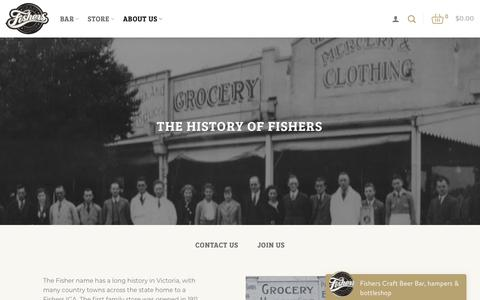Screenshot of About Page fishers.com.au - About Us - Fishers - Craft Liquor - captured Oct. 10, 2018