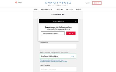 Screenshot of Signup Page charitybuzz.com - Charitybuzz: do good - live well - captured Feb. 23, 2018