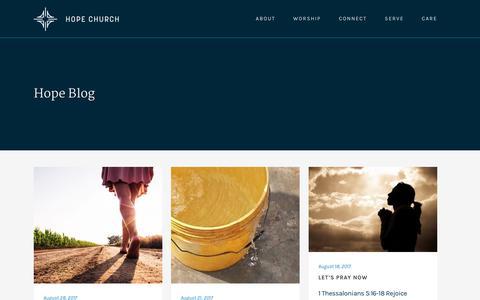 Screenshot of Blog hope-pc.org - Hope Church |   Hope Blog - captured Sept. 2, 2017