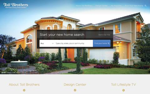 Screenshot of Home Page tollbrothers.com - Toll Brothers - America's Luxury Homebuilder - captured Jan. 12, 2016