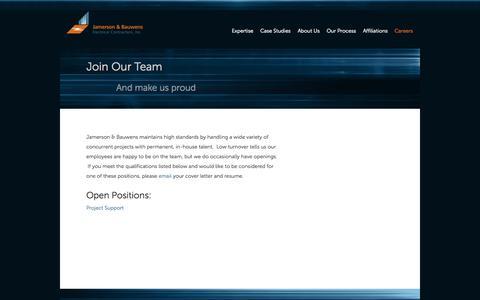 Screenshot of Jobs Page jbelectric.com - JBElectric.com - Careers - captured Oct. 6, 2014