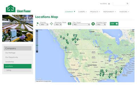 Screenshot of Locations Page westfraser.com - Locations Map | West Fraser - captured Oct. 8, 2014