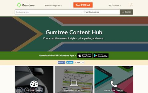 Screenshot of Site Map Page gumtree.co.za - Gumtree Content | Free Classifieds South Africa - captured June 20, 2017
