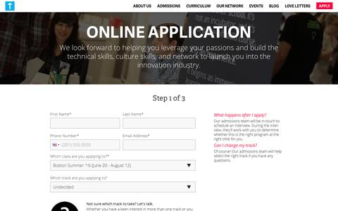 Step 1 of 3: The Basics | Startup Institute Application