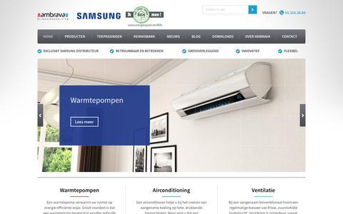 Screenshot of Home Page samsung-airco.be - Samsung Klimaatbeheersing - Ambrava - captured May 29, 2016