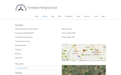 Screenshot of Contact Page turwestonflyingclub.org.uk - Contact - captured Feb. 16, 2016