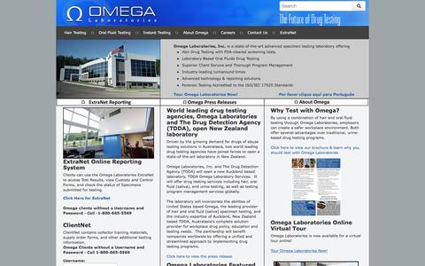 Screenshot of Home Page omegalabs.net - Omega Laboratories Hair Drug Testing Homepage - captured Dec. 2, 2016