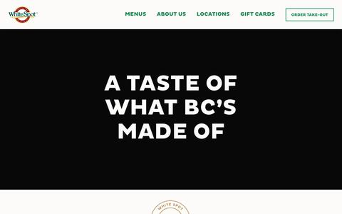 Screenshot of Home Page whitespot.ca - Homepage - White Spot - captured Oct. 14, 2019
