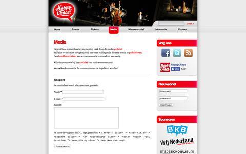 Screenshot of Press Page happychaos.nl - Media | happyChaos - captured Sept. 30, 2014