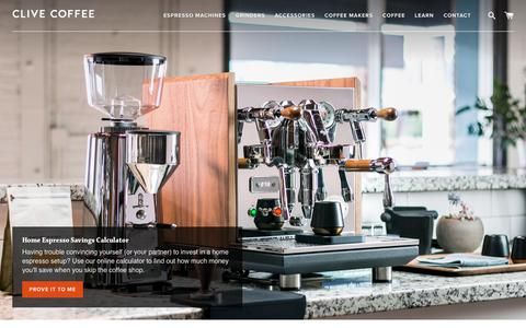 Screenshot of Home Page clivecoffee.com - Clive Coffee - Beautiful Espresso at Home - captured Aug. 2, 2018