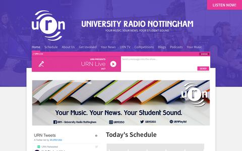 Screenshot of Home Page urn1350.net - URN: University Radio Nottingham - captured Oct. 18, 2018