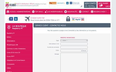 Screenshot of Contact Page kubii.fr - Contactez Kubii distributeur officiel du RPi en France pour les particuliers - Kubii.fr - Kubiweb SAS - captured Oct. 29, 2014