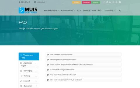 Screenshot of FAQ Page muis.nl - FAQ MUIS Software - Online boekhouden - captured Sept. 23, 2018