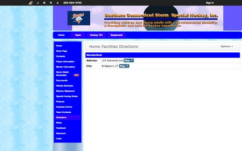 Screenshot of Maps & Directions Page ctstormhockey.org - Home Facilities Directions | Southern Connecticut Storm Special Hockey, Inc. - captured Nov. 5, 2014