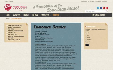 Screenshot of Support Page texastamale.com - Texas Tamale Company  | Customer Service |  Houston, TX - captured Oct. 7, 2014