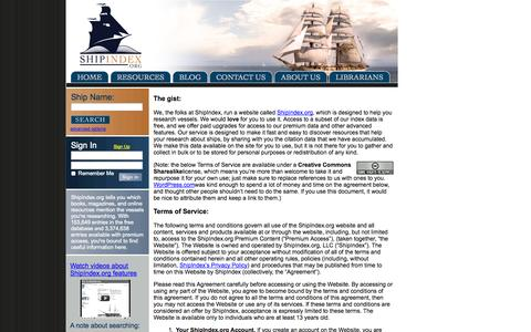 Screenshot of Terms Page shipindex.org - ShipIndex.org Terms of Service - captured Oct. 7, 2014