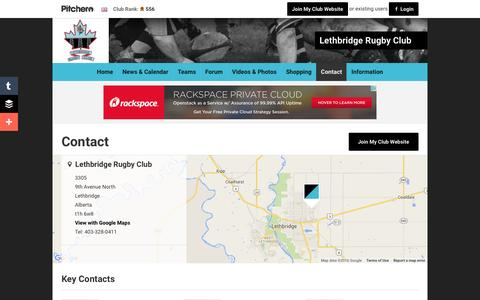 Screenshot of Contact Page pitchero.com - Contact - Lethbridge Rugby Club - captured June 13, 2016