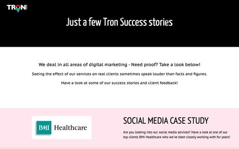 Screenshot of Case Studies Page tronmedia.co.uk - Case Studies from Previous Clients   TRON Media - captured Oct. 20, 2018