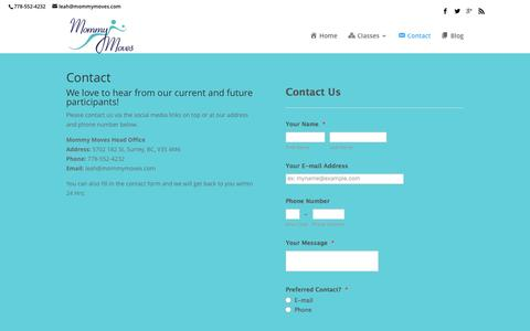 Screenshot of Contact Page mommymoves.com - Contact - MommyMoves Fitness - captured Dec. 1, 2016