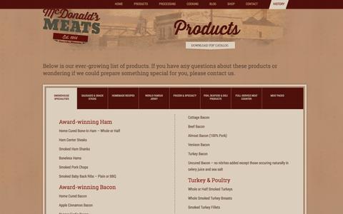 Screenshot of Products Page mcdonaldsmeats.com - Products : McDonald's Meats - captured Oct. 27, 2014