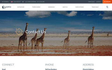 Screenshot of Contact Page go2africa.com - Contact Us – Let Us Help You Plan Your African Safari - captured Dec. 4, 2017