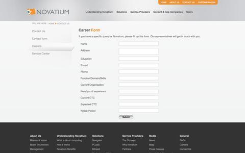 Screenshot of Jobs Page novatium.com - Novatium - Contact Us and Careers and Service Centers - captured Oct. 9, 2014