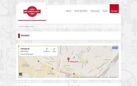 Screenshot of Contact Page brandology.co.za - Contact | Brandology - captured Oct. 5, 2014