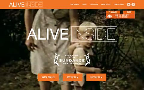 Screenshot of Home Page aliveinside.us - Alive Inside - a story of Music and Memory - captured Feb. 20, 2016
