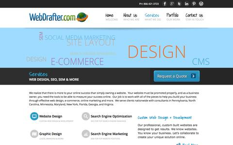 Screenshot of Services Page webdrafter.com - Online Marketing and Website Design Services from WebDrafter.com - captured Oct. 7, 2014