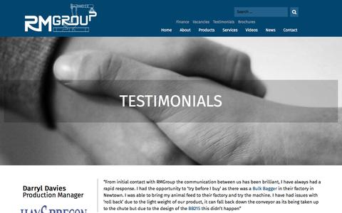 Screenshot of Testimonials Page rmgroupuk.com - Testimonials - RMGroup - captured Oct. 25, 2017