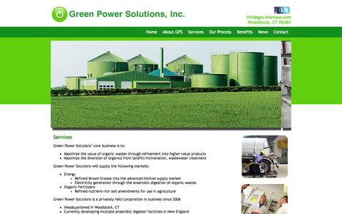 Screenshot of Services Page gps-biomass.com - Green Power Solutions | Services - captured Oct. 3, 2014