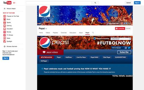 Screenshot of YouTube Page youtube.com - Pepsi  - YouTube - captured Oct. 30, 2014