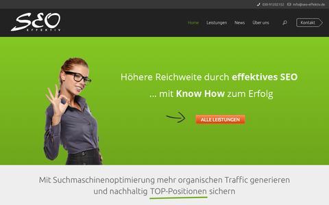 Screenshot of Home Page seo-effektiv.de - SEO Agentur Berlin für nachhaltige Suchmaschinenoptimierung | SEO-effektiv GmbH - captured Sept. 19, 2014