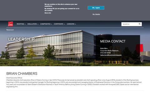 Screenshot of Team Page owenscorning.com - Leadership   Owens Corning - captured April 24, 2019