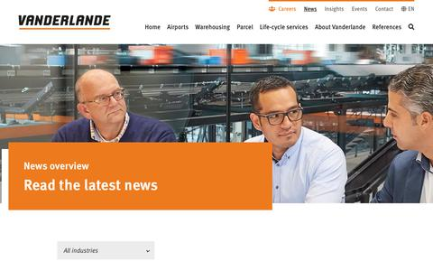 Screenshot of Press Page vanderlande.com - News | Vanderlande - captured Dec. 6, 2019