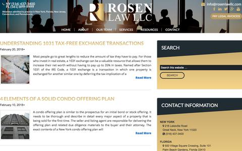 Screenshot of Blog rosenlawllc.com - Blog - Rosen Law LLC - captured March 3, 2018
