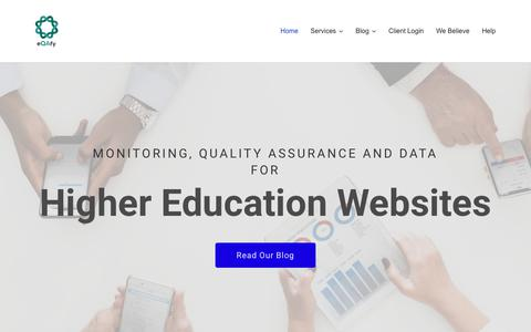 Screenshot of Home Page eqafy.com - eQAfy | Identifying, logging and managing higher education website and web estate risks - captured July 9, 2018