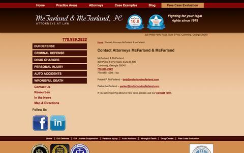 Screenshot of Contact Page mcfarlandmcfarland.com - Contact Attorneys at Law McFarland & McFarland, P.C. - captured Oct. 27, 2014