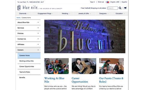 Screenshot of Jobs Page bluenile.com - Careers Home | Blue Nile - captured Feb. 22, 2017