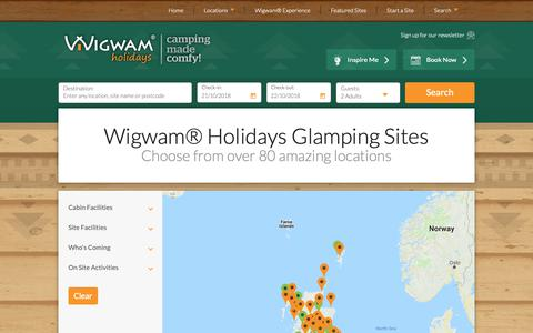 Screenshot of Locations Page wigwamholidays.com - 80+ Luxury Glamping sites from £30pn - Wigwam® Holidays - captured Oct. 20, 2018