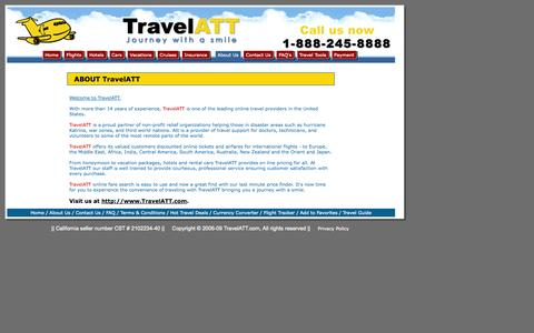 Screenshot of About Page travelatt.com - Airline Tickets, Cheap Flights, Cheap Plane Tickets, Hotels, Car Rentals - TRAVELATT.COM - Airline Consolidator for Discount International Airfares, Cheap Flights and Ticket deals to Europe, Africa, Middle-East, Asia, Australia, New Zealand, South Am - captured Oct. 9, 2014