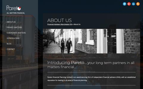 Screenshot of About Page paretofp.co.uk - Financial Adviser Manchester - Pareto Financial Planning - IFA Manchester - captured March 25, 2018