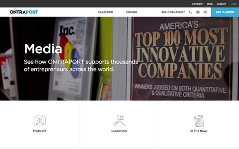 Screenshot of Press Page ontraport.com - ONTRAPORT Press Room | ONTRAPORT Marketing Automation - captured July 3, 2016