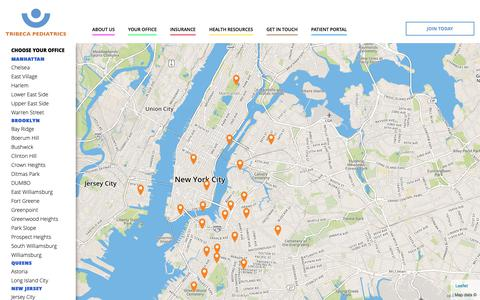 Screenshot of Team Page Locations Page tribecapediatrics.com - My Office - Tribeca Pediatrics - captured Oct. 20, 2018