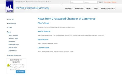 Screenshot of Press Page chatswoodchamber.com.au - Chatswood Chamber of Commerce News - captured Oct. 2, 2014