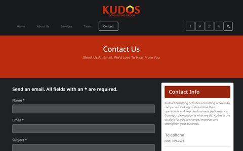 Screenshot of Contact Page kudosconsultinggroup.com - Contact - captured Oct. 16, 2018
