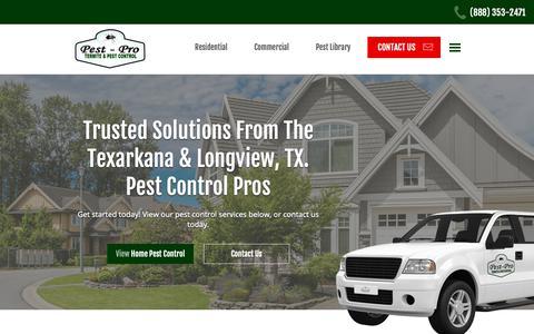 Screenshot of Home Page pest-pro.net - Pest-Pro Services, Inc. | Pest Control For Texas & Southwest Arkansas - captured June 15, 2019