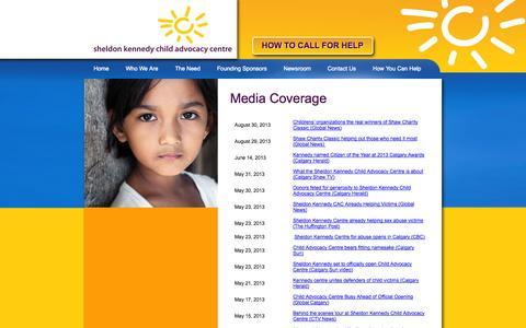 Screenshot of Press Page sheldonkennedycac.ca captured Oct. 26, 2014